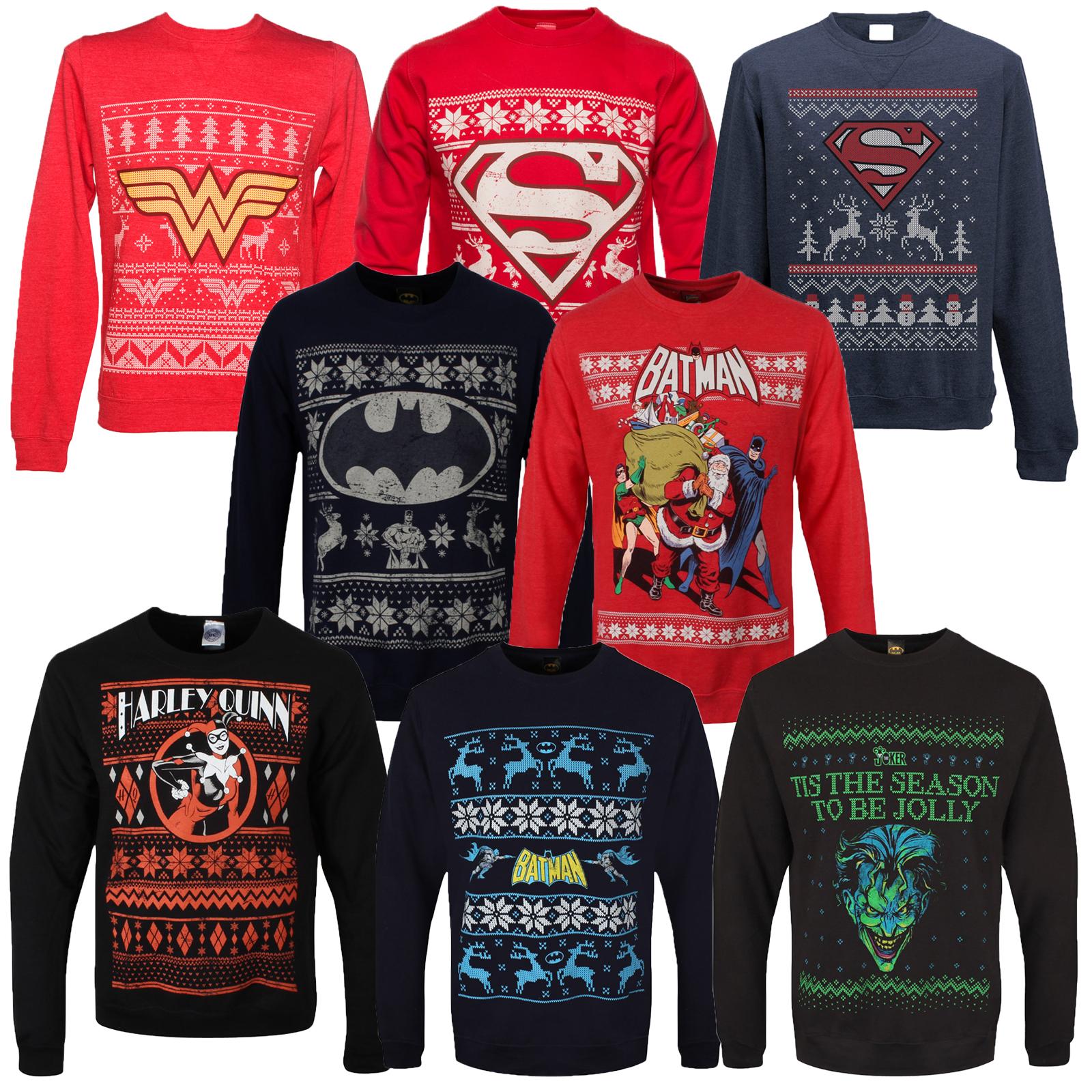 Adults Dc Comics Superhero Theme Christmas Jumpers New