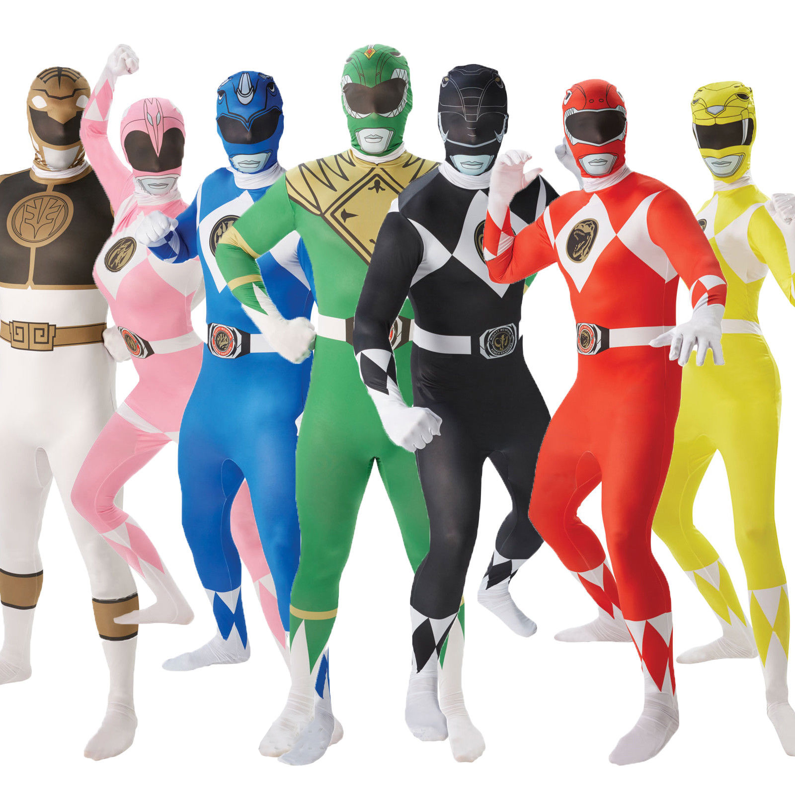 Rubies Adults Mighty Morphin Power Rangers Fancy Dress 2nd ...