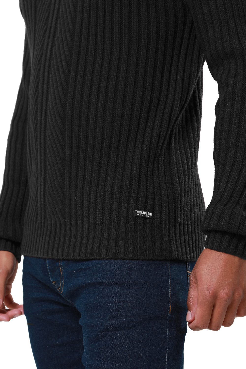 Threadbare-Mens-Saltbush-Jumper-Crew-Neck-Chunky-Cable-Knit-Wool-Blend-Sweater thumbnail 4
