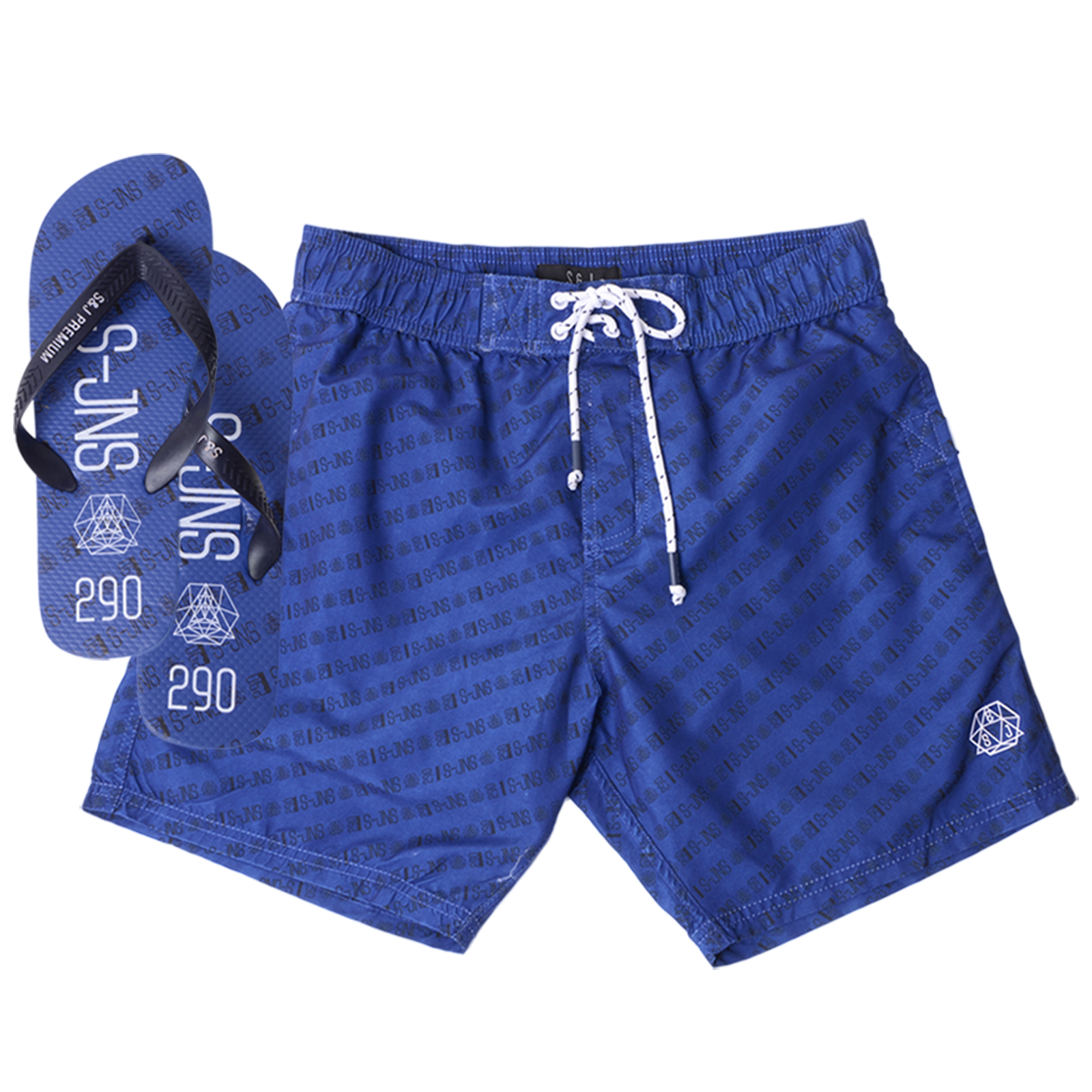Smith & Jones Mens Baryon Decibel Summer Beach Swim Shorts With Free Flip  Flops; Picture 2 of 2