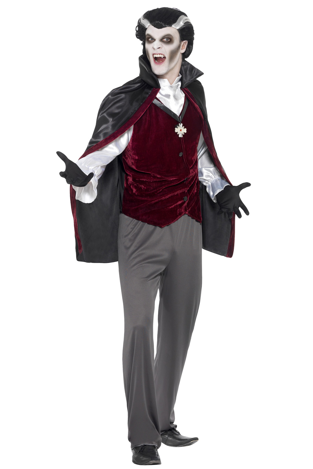 Smiffy-039-s-Horror-Mens-Vampire-Halloween-Fancy-Dress-Costume-Count-Dracula-Outfit