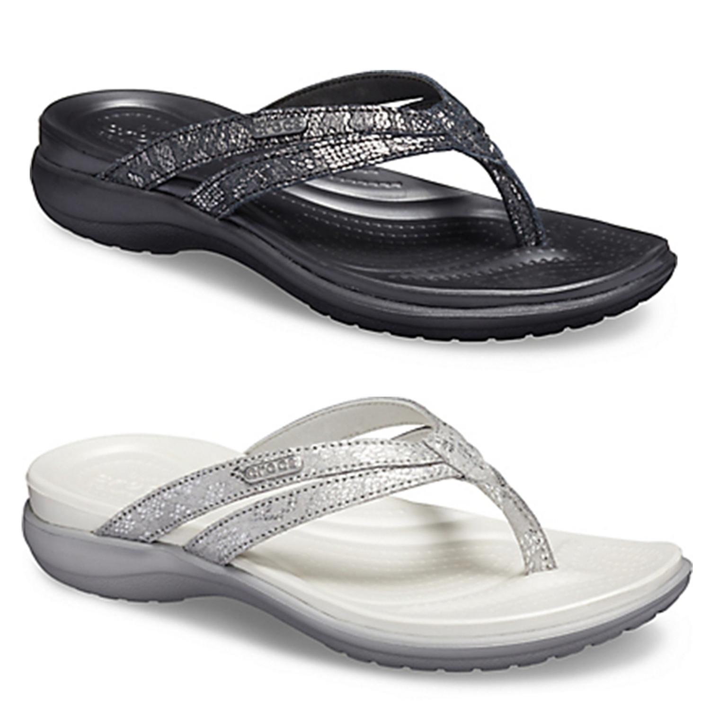 0947750ba11 Details about Crocs Womens Capri Strappy Flip Flops Ladies Dual Comfort  Cushioned Thong Sandal