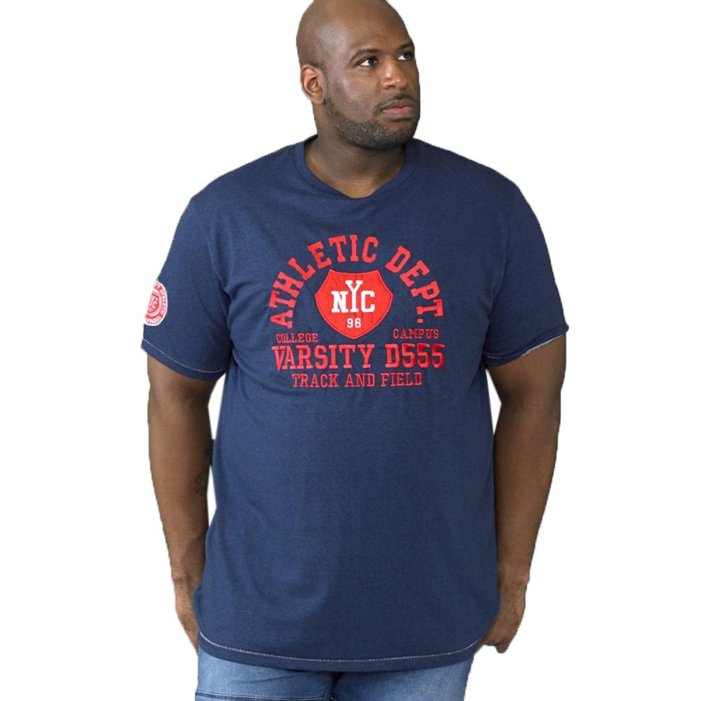 DUKE D555 Mens BIG TALL King Size Cyril T-Shirt con Slogan Cotone Tee Top Estate