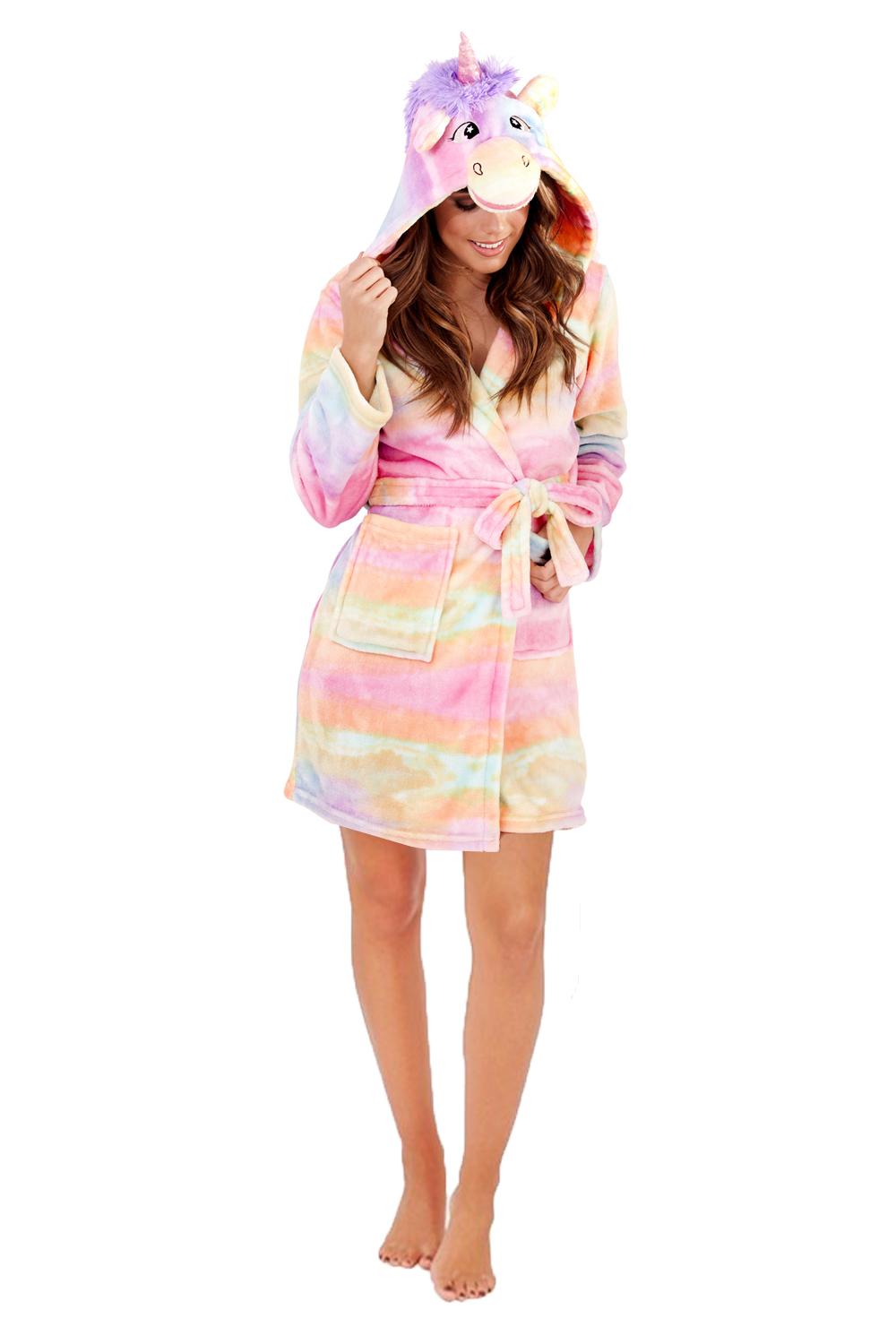 Loungeable Womens 3D Rainbow Unicorn Dressing Gown New Ladies Luxury ...