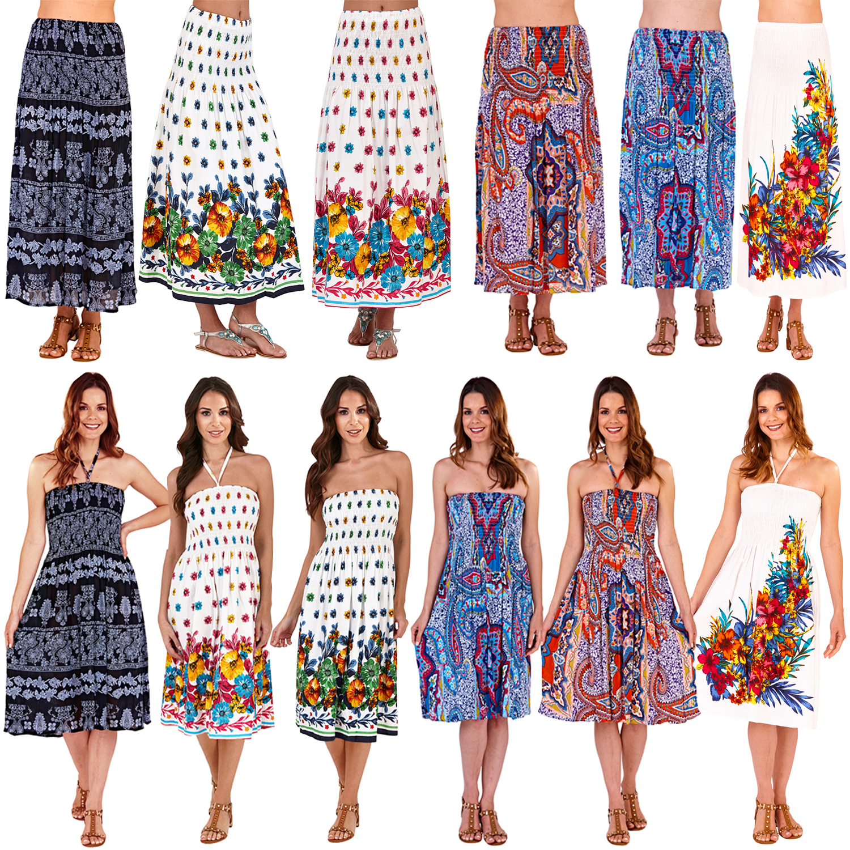 Pistachio Floral 3 Way Womens Dress Ladies Bandeau New Summer Beach Maxi Skirt