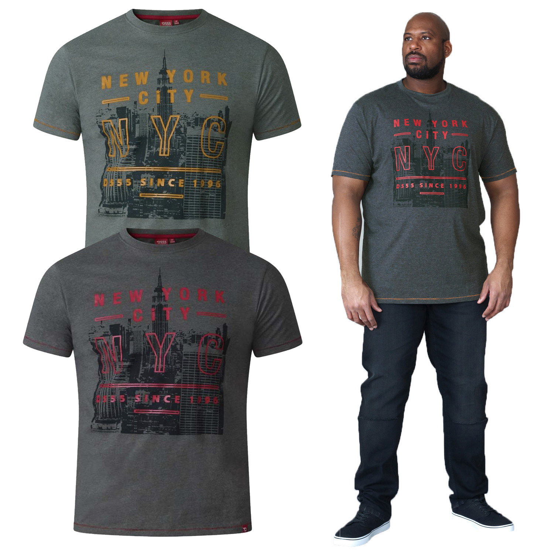 "D555 Mens Kingsize Print T-Shirt /""New York/"""