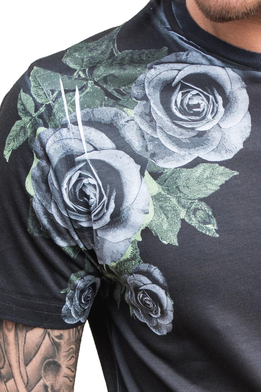 Juice Galvin Da Uomo T-shirt di marca NUOVO Rose Stampa taglio lungo taglio più lungo tee top