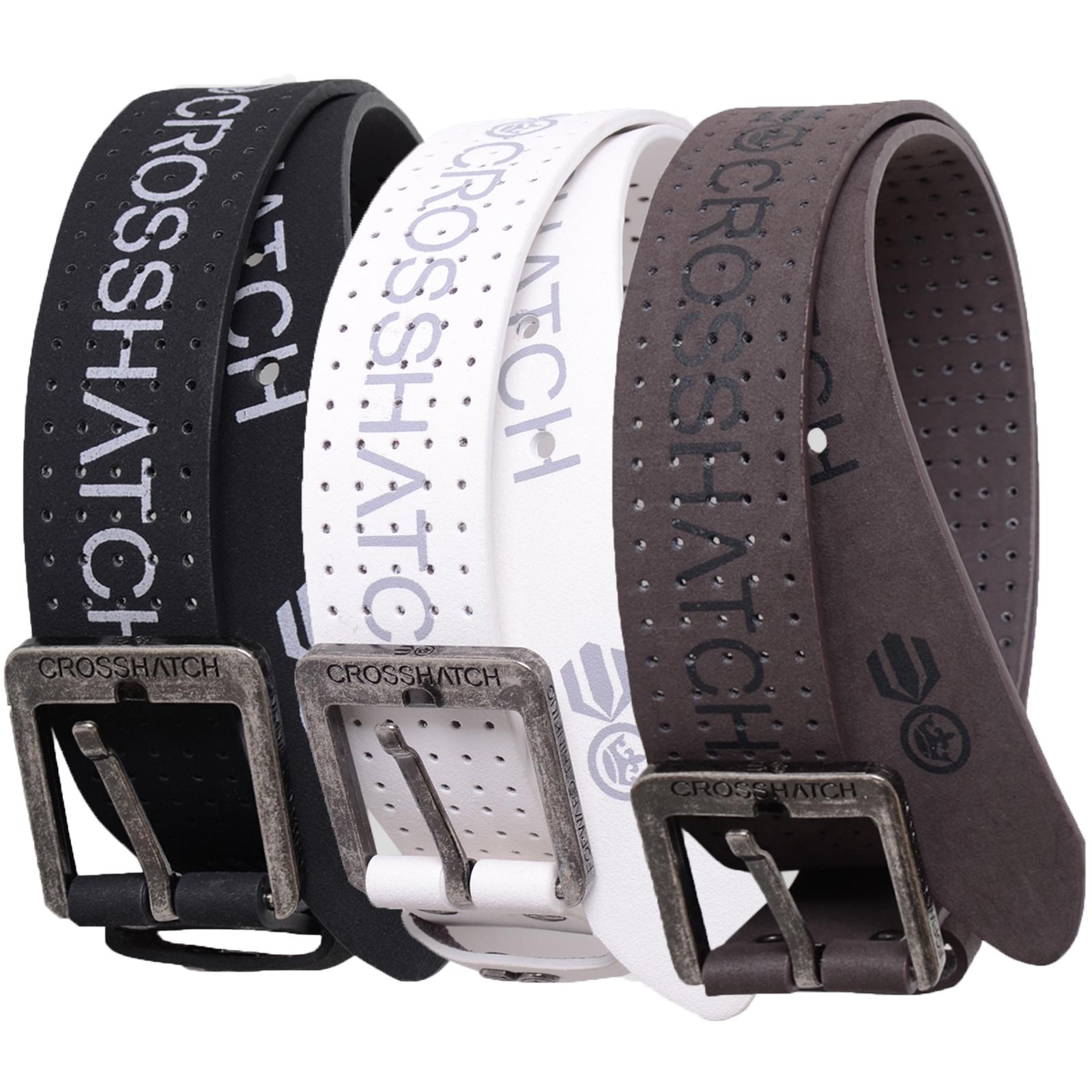 Crosshatch Mens Leather PU Designer Embossed Branded Casual Metal Buckle Belt