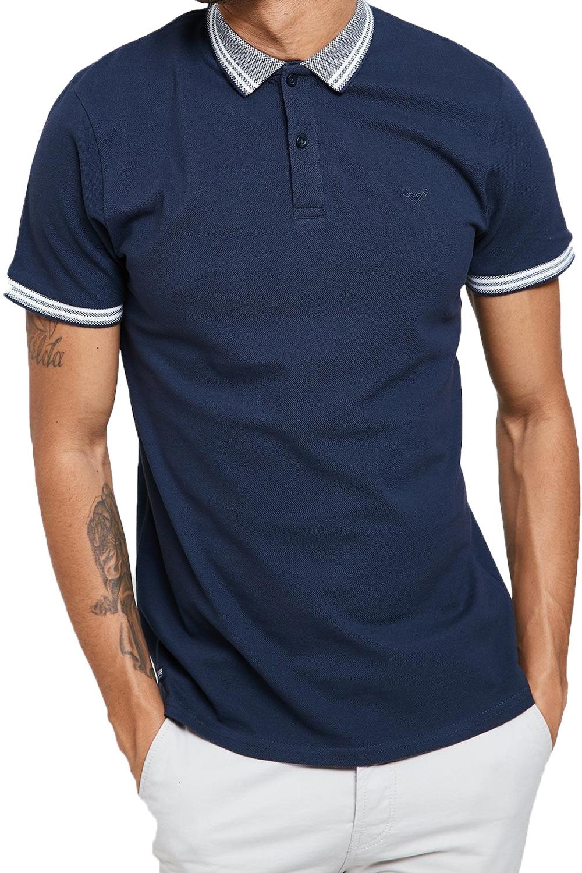 Threadbare-Mens-Warsaw-Polo-Shirt-Designer-Collared-Contrast-Trim-Pique-T-Shirt thumbnail 3
