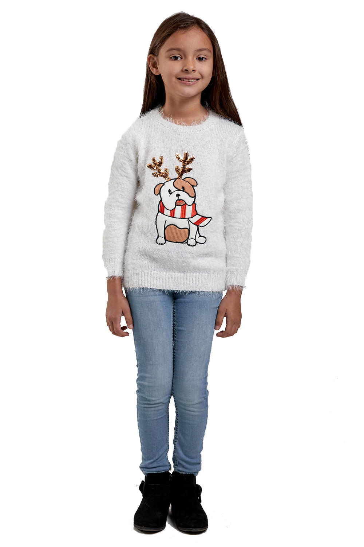 Seasons Greetings Matching Womens Girls Novelty Bulldog Christmas Knit Jumpers