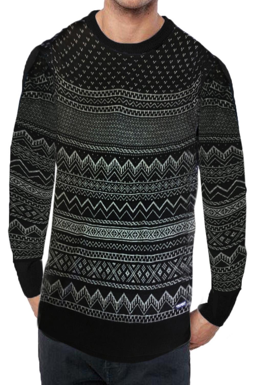 Mens-Threadbare-Santiago-Luxury-Geometric-Fairisle-Patterned-Knitted-Jumper thumbnail 3