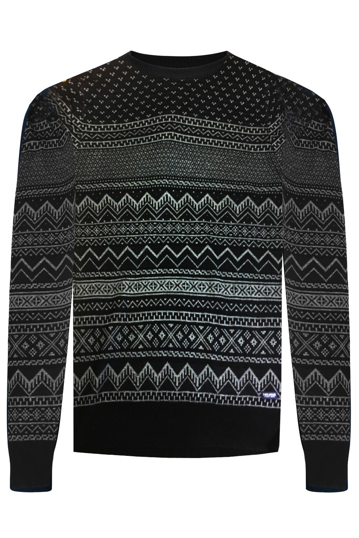 Mens-Threadbare-Santiago-Luxury-Geometric-Fairisle-Patterned-Knitted-Jumper thumbnail 4