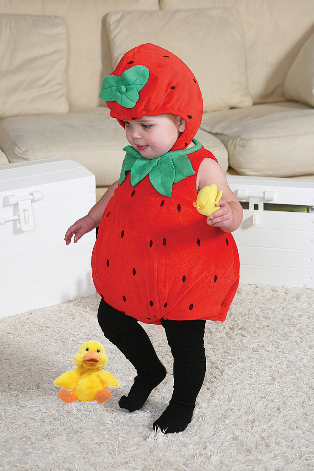 More on Baby Strawberry Costume: Dress up your little one to look sweet as a strawberry in a Strawberry Costume for babies! The costume includes a red romper designed to look like a strawberry. Complete the look with the matching strawberry hat and the included green and white striped tights to make your little one look like their favorite fruit!