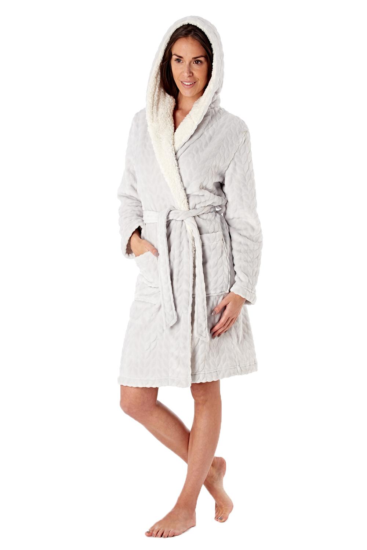 Femme-De-Luxe-Polaire-week-end-fille-twosie-Pyjama-Set-ou-a-Capuche-Robe-de-detente miniature 14