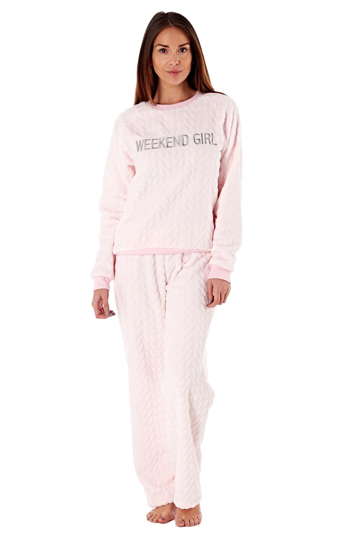 Femme-De-Luxe-Polaire-week-end-fille-twosie-Pyjama-Set-ou-a-Capuche-Robe-de-detente miniature 10