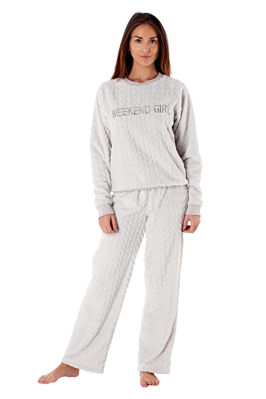 Femme-De-Luxe-Polaire-week-end-fille-twosie-Pyjama-Set-ou-a-Capuche-Robe-de-detente miniature 7