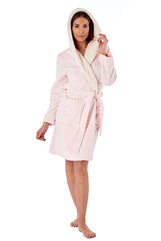 Femme-De-Luxe-Polaire-week-end-fille-twosie-Pyjama-Set-ou-a-Capuche-Robe-de-detente miniature 12