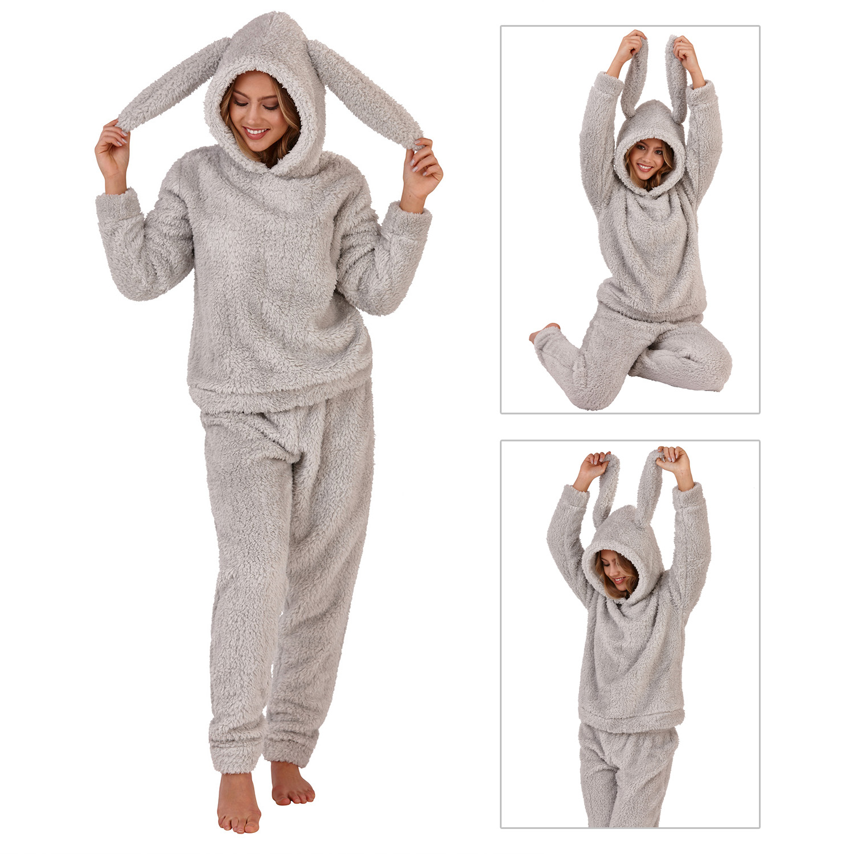 7140e6c07 Loungeable Womens Sherpa Pyjama Set With Rabbit Ears Ladies Winter ...