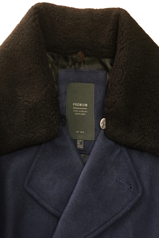 Navy Blauw Hill Sherpa Fleece Jas Heren Wollen Designer Afneembare Notting Kraag Threadbare p4Svqn