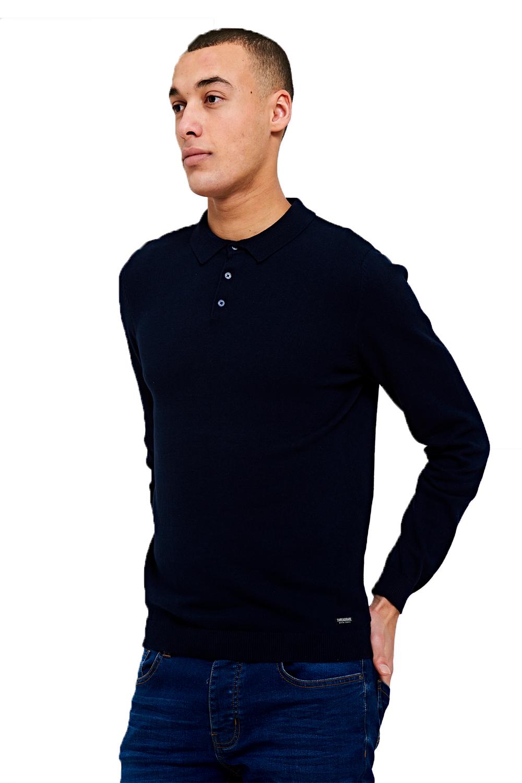 Threadbare-Mens-Designer-Ilkay-Or-Hart-Long-Sleeve-Knitted-Cotton-Polo-T-Shirt thumbnail 8