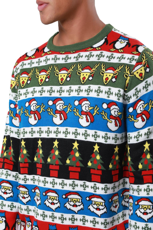 Jersey-De-Navidad-desgastado-para-hombre-a-rayas-Noel-Novedad-Sueter-con-Patron-festivo miniatura 3
