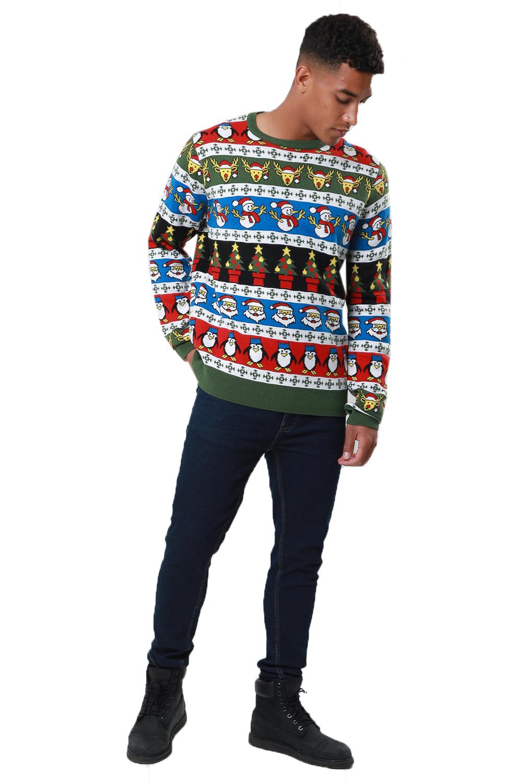 Jersey-De-Navidad-desgastado-para-hombre-a-rayas-Noel-Novedad-Sueter-con-Patron-festivo miniatura 4