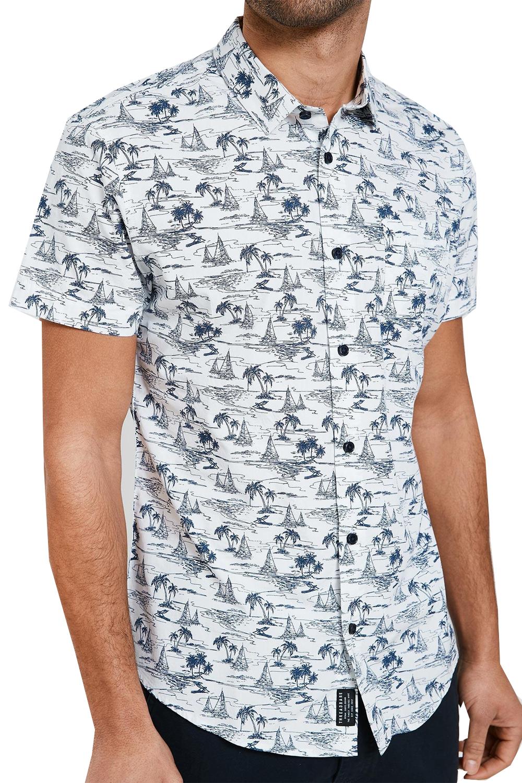 Vecchia-Uomo-Aaron-BOND-Hawaiian-Palm-Print-Top-manica-corta-con-Colletto-Camicie miniatura 5