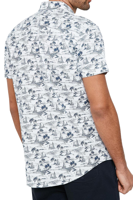 Vecchia-Uomo-Aaron-BOND-Hawaiian-Palm-Print-Top-manica-corta-con-Colletto-Camicie miniatura 6