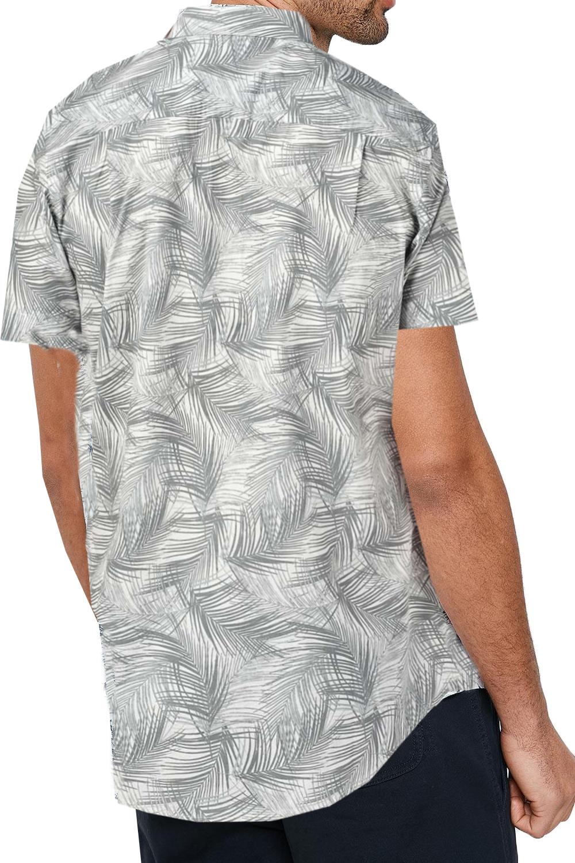 Vecchia-Uomo-Aaron-BOND-Hawaiian-Palm-Print-Top-manica-corta-con-Colletto-Camicie miniatura 3