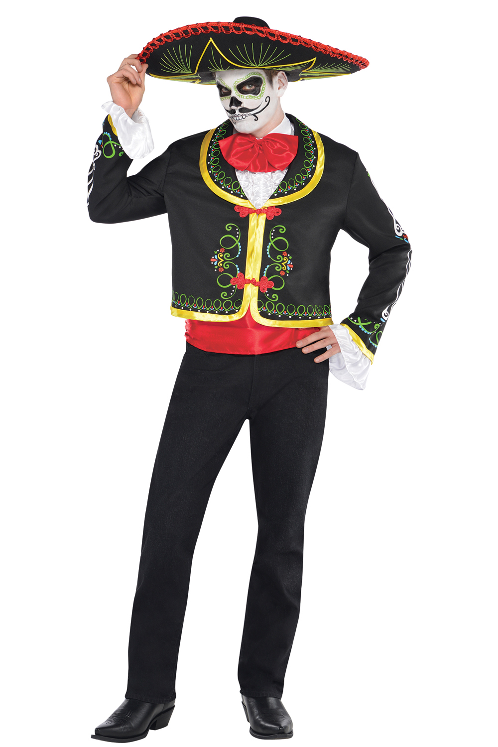 adults day of the dead costume mexican sombrero mariachi skeleton fancy dress ebay. Black Bedroom Furniture Sets. Home Design Ideas