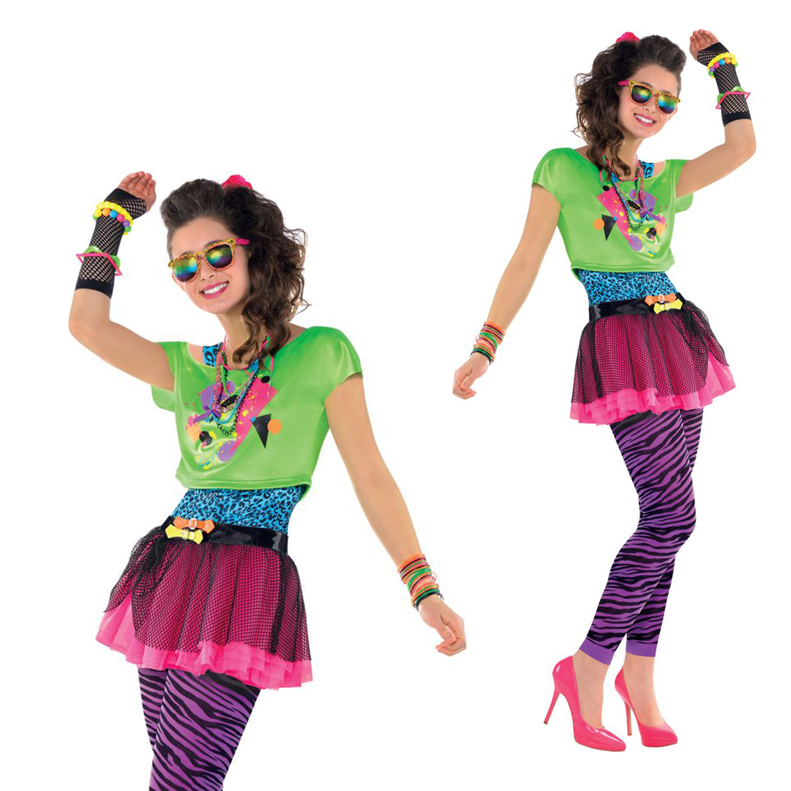 teens 1980s totally awesome costume new girls neon party