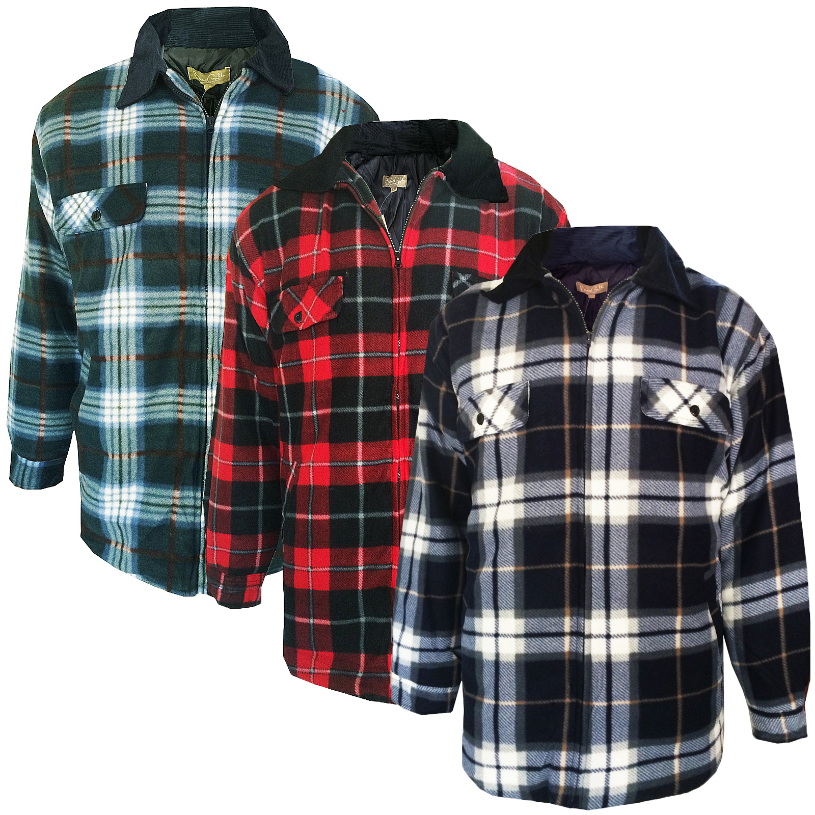 Mens Lumberjack Fleece Jacket Bruno Galli Extra Thick Padded ...