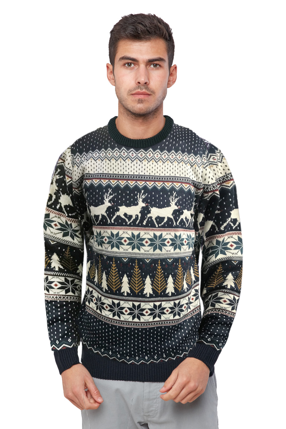 Seasons-Greetings-Mens-Reindeer-Fairisle-With-Lights-Festive-Christmas-Jumper thumbnail 5