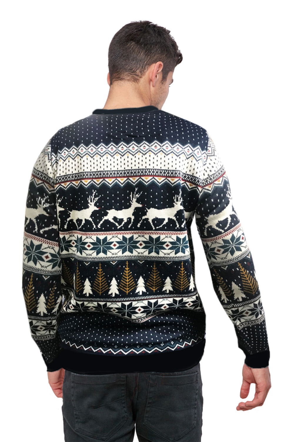 Seasons-Greetings-Mens-Reindeer-Fairisle-With-Lights-Festive-Christmas-Jumper thumbnail 3