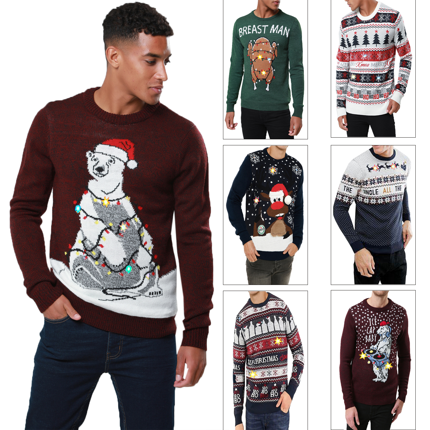 2019 original fast delivery find workmanship Details about Threadbare Mens Womens LED Light Up 3D Christmas Jumpers  Novelty Xmas Sweater