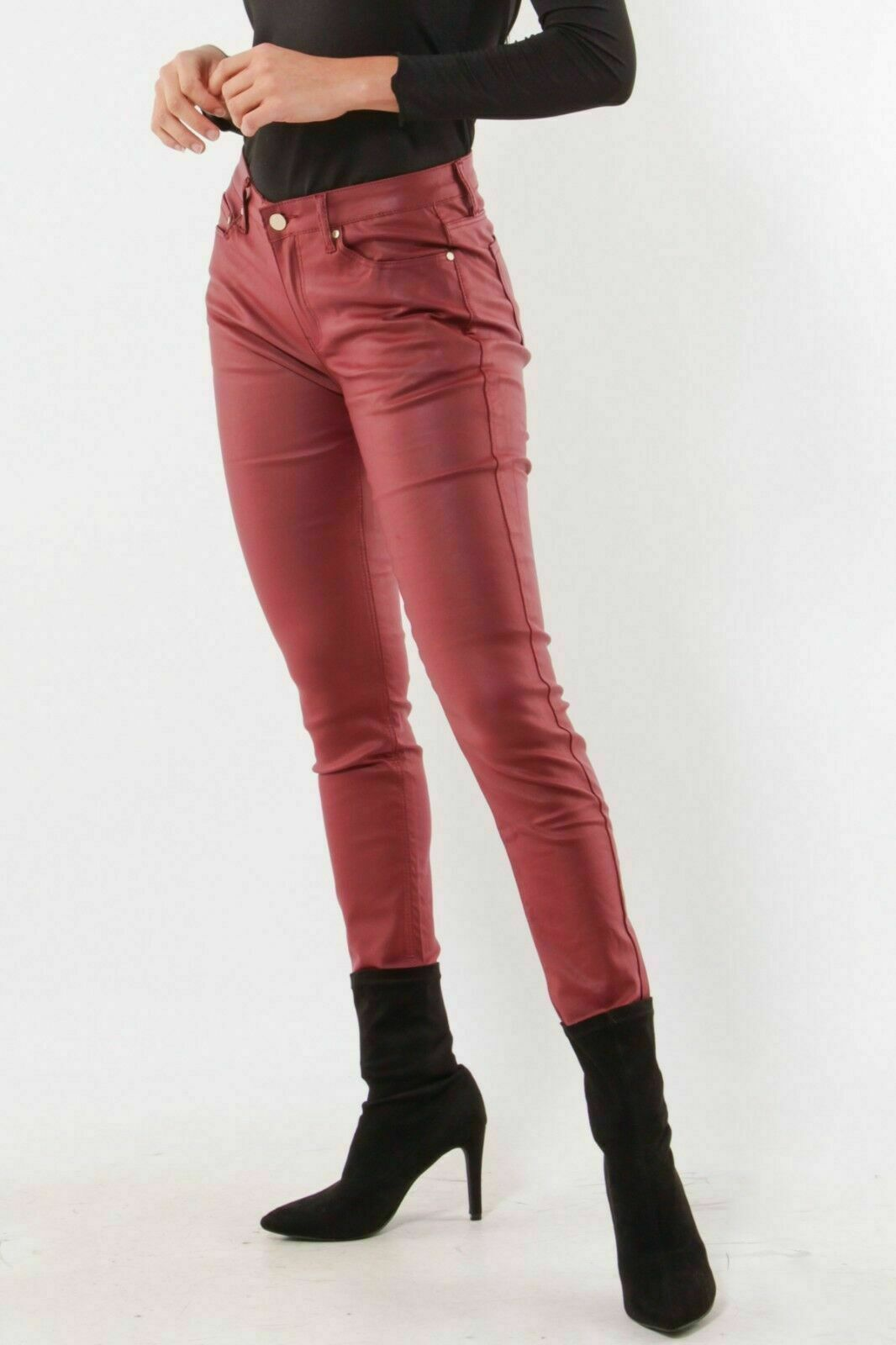 Women/'s stretch faux Leather look Trousers Skinny mid rise Pants Red UK 6-14