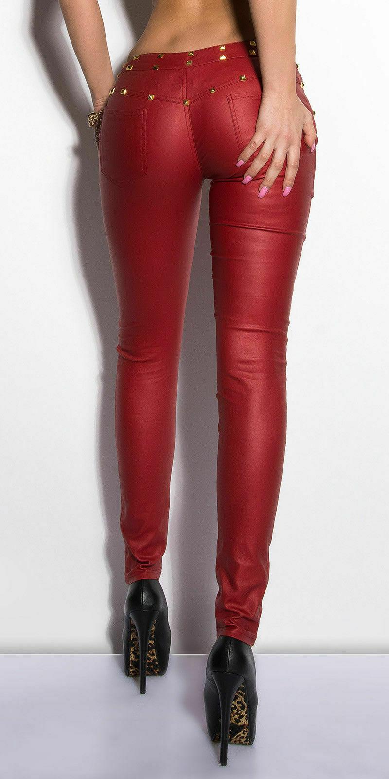 Women/'s Skinny Slim Faux leather Pants Ladies biker stretch Trousers UK 6-14
