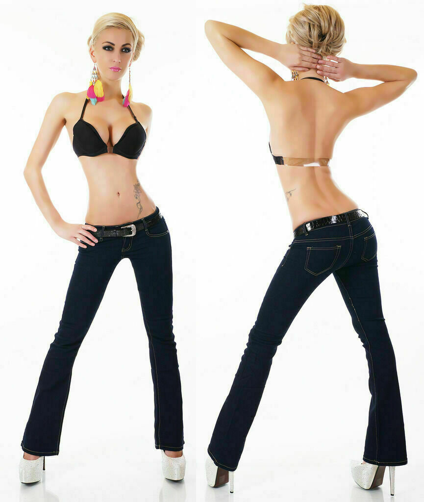 Jeans bootcut Donna Stretch Svasato Boot Cut Pantaloni Donna Pantaloni da lavoro 6-14