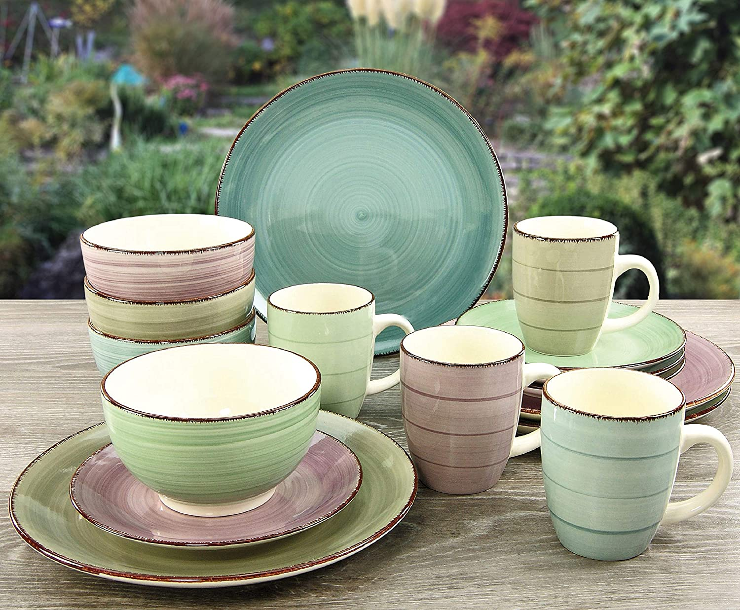Creatable Lavergne 16 Piece Dinnerware Set Stoneware Service For 4 Multicolored Ebay