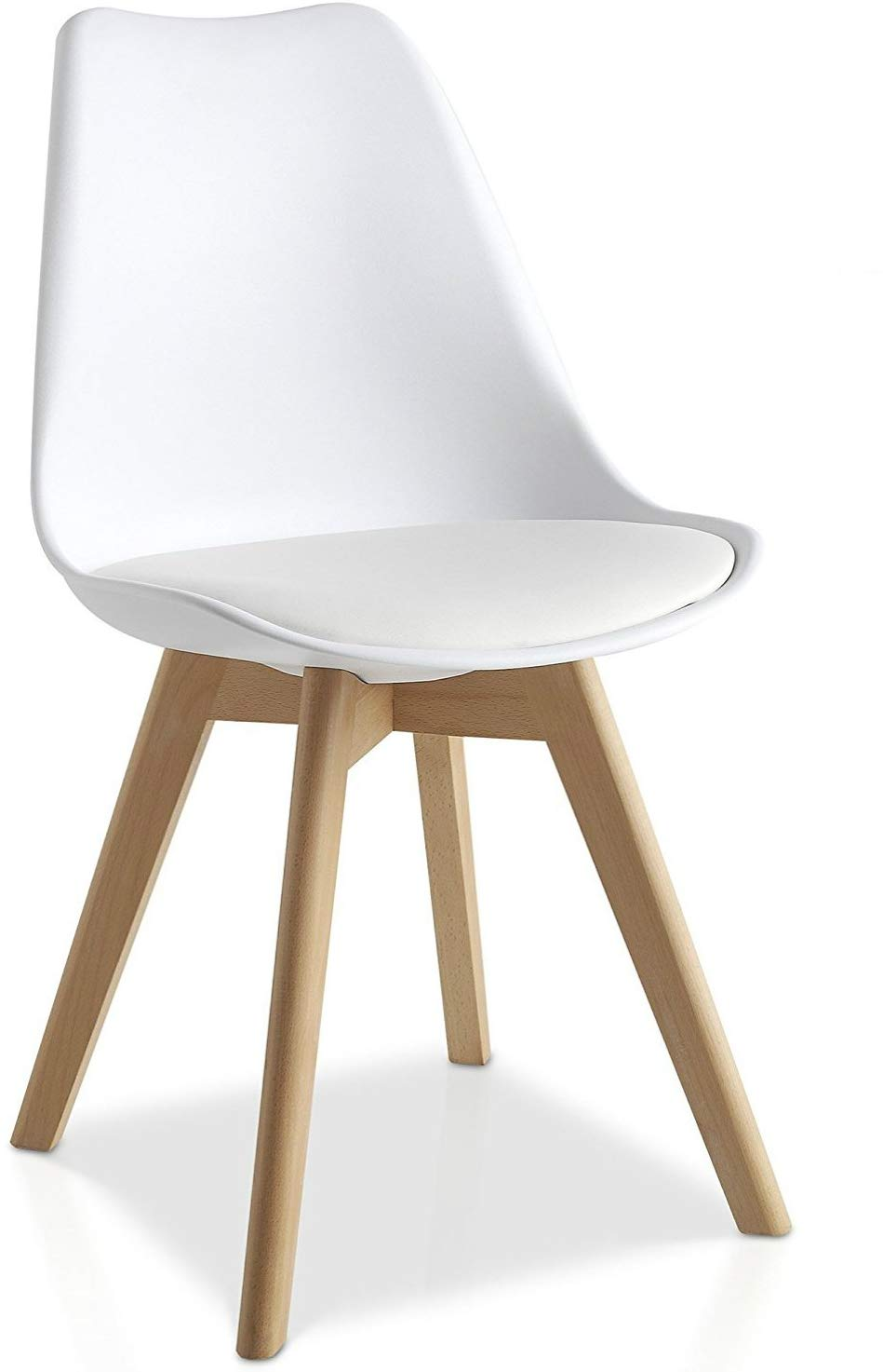 MMilo Tulip Pyramid Dining Chairs With Beech Legs, White ...