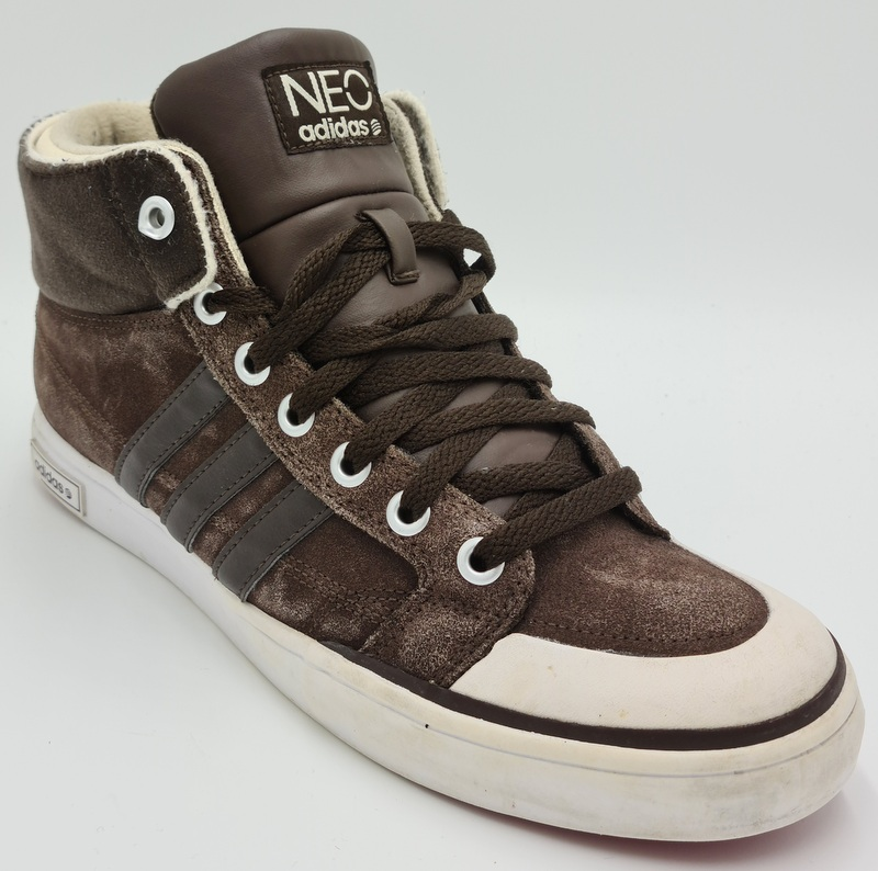 Adidas Neo High Suede/Leather Trainers G52329 Brown/Fur/White UK10 ...