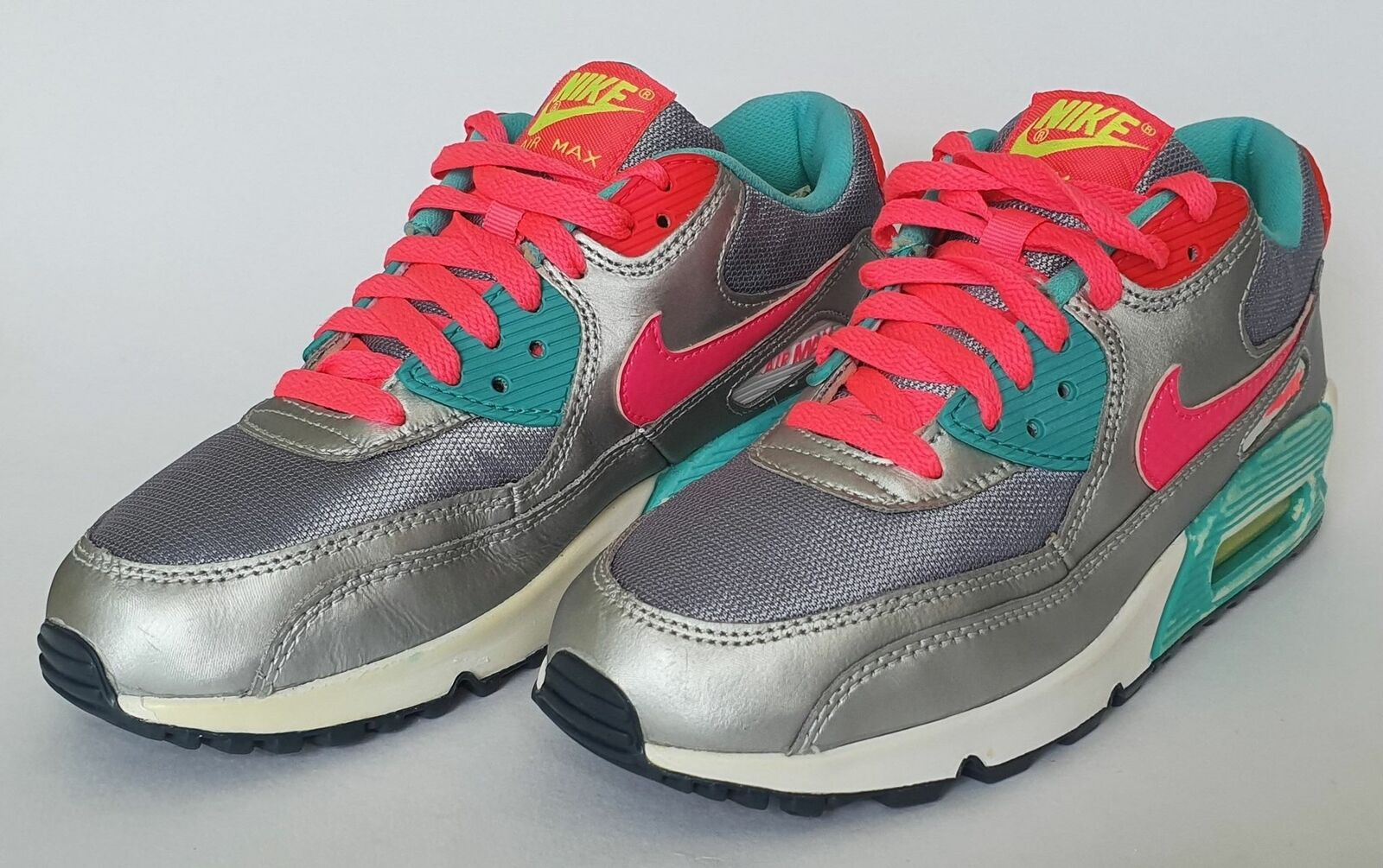 Details zu Nike Air Max 90 GS Trainers Magnet Grey Hyper Pink 345017 065 UK5 US5.5