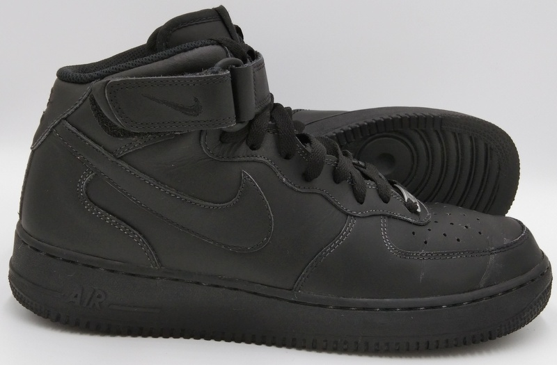 Dettagli su Nike Air Force 1 Mid 07 Leather Trainers Triple Black 315123 001 UK10US11EU45