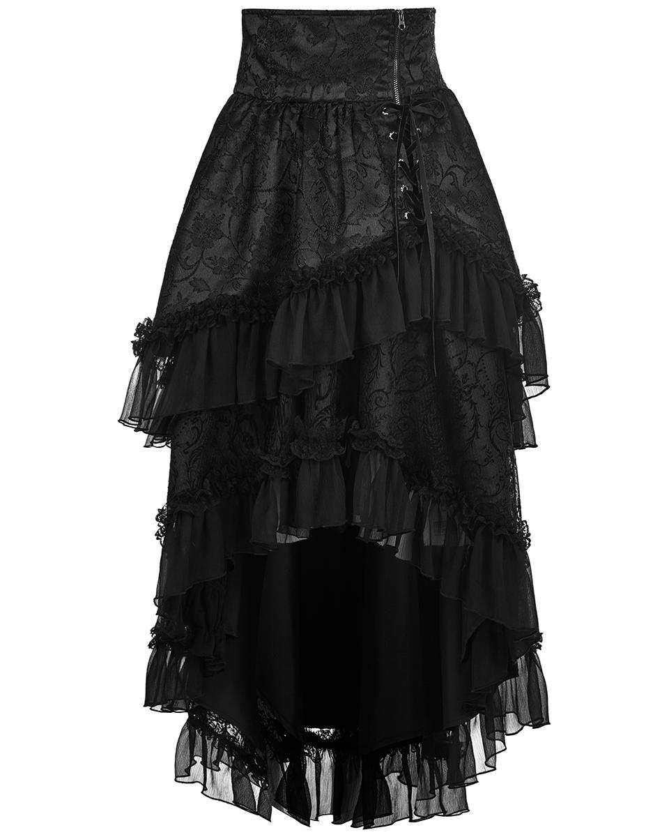 Punk Rave Pyon Gothic Lolita Skirt Long Black Steampunk Floral Lace Victorian