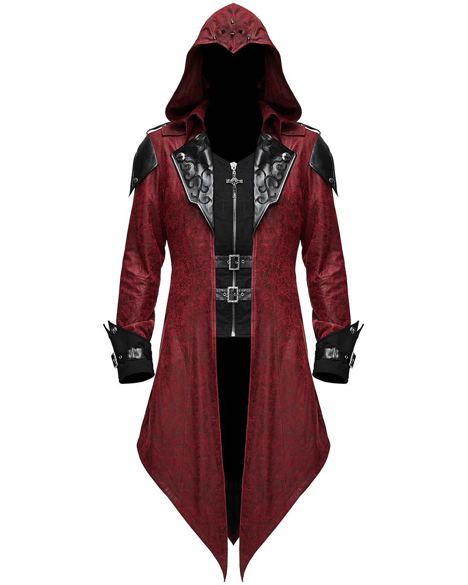 Diable Fashion Homme Gothic Veste A Capuche Manteau Noir Rouge Dieselpunk Assassin Creed Ebay