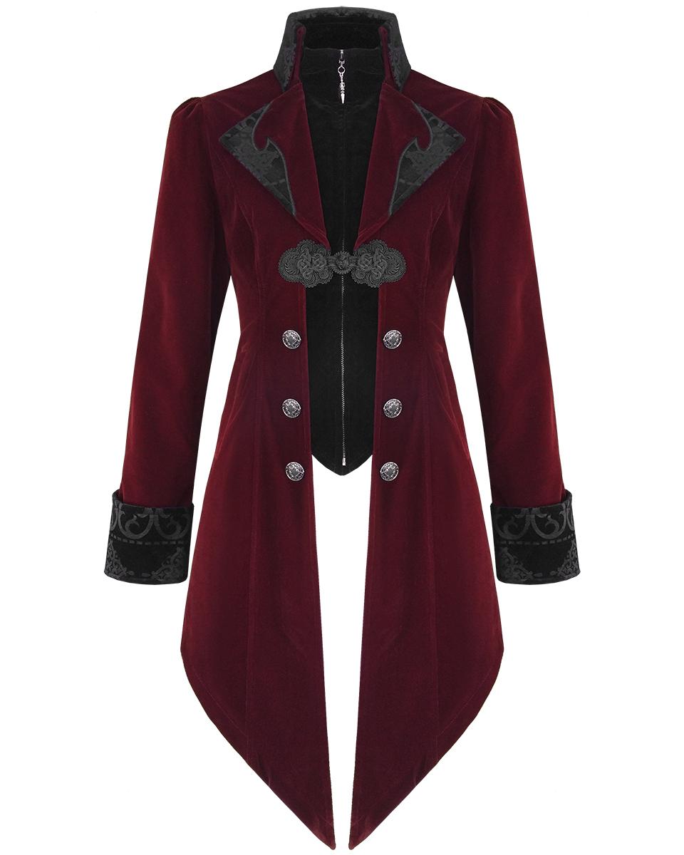 MEN'S STEAMPUNK  ASSASSIN/'S CREED HOODED VELVET GOTHIC MILITARY Jacket