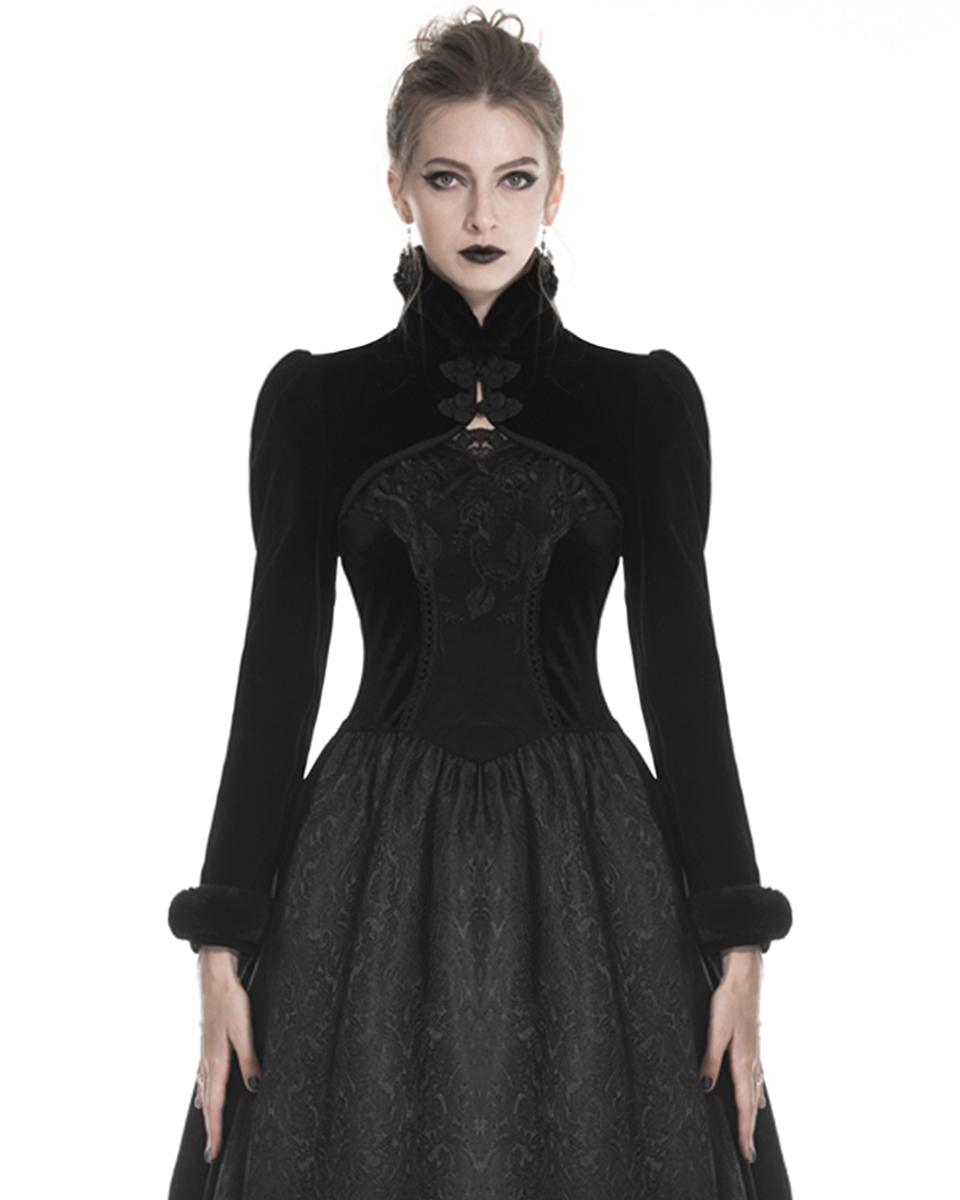 Punk Rave Pyon da Donna Gothic Lolita con Cappuccio Bolero Scrollata nero in finta pelliccia Felpa con Cappuccio