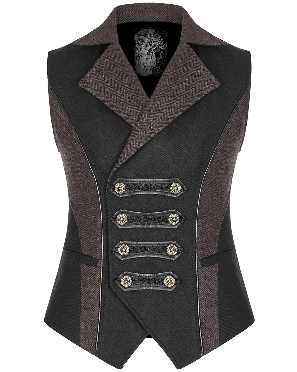 Punk Rave Womens Steampunk Waistcoat Vest Top Black Copper Gothic VTG Military