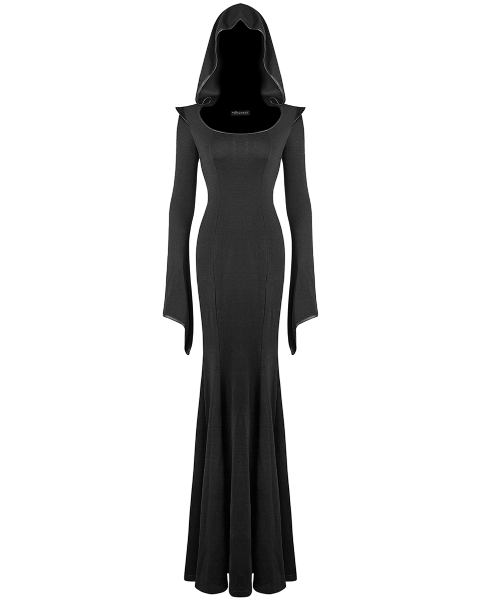 e25e67dc6a4 Punk Rave Coven Maxi Dress Long Black Hooded Gothic Witch Occult ...