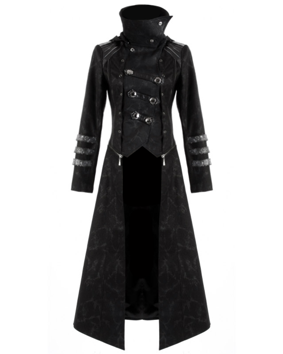 dacc24ddf54dc Détails sur Punk Rave Scorpion manteau veste homme long noir gothique  steampunk à capuche trench- afficher le titre d'origine